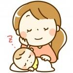 お昼寝する赤ちゃんと母親