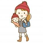 赤ちゃんとおそろいの服を着たお母さん