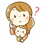 困り顔の保育士さんと赤ちゃん