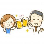 乾杯!とグラスを合わせる男女