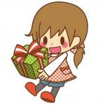 プレゼントを持つ保育士