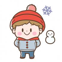 雪遊びの男の子
