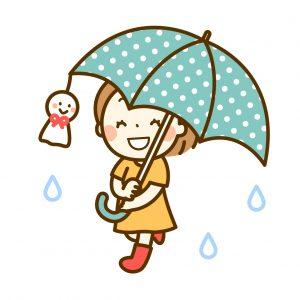 傘をさす子女の子のイラスト