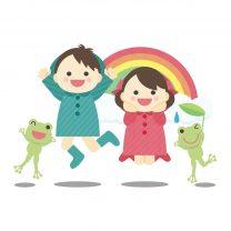 虹と子ども達のイラスト