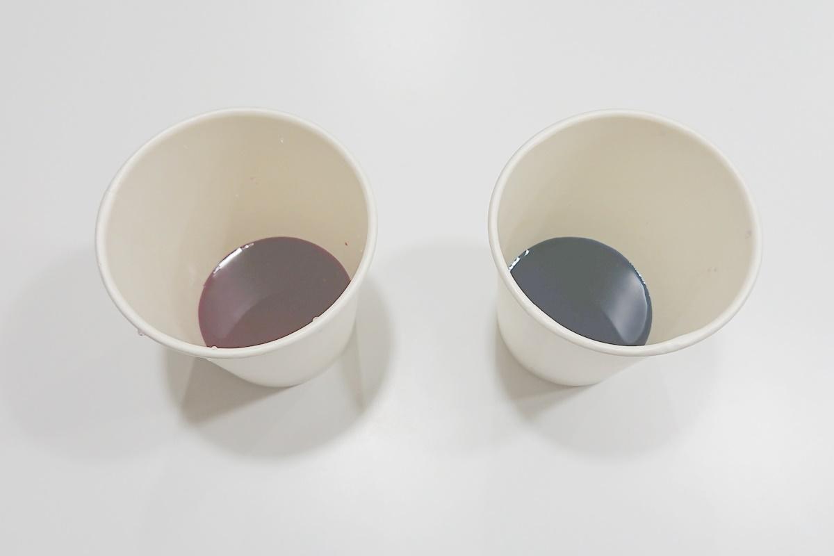 製作過程1/染め紙のアジサイ