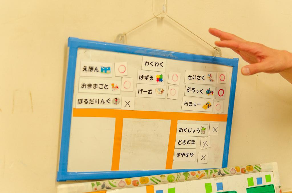 開放中の遊びを示すボード
