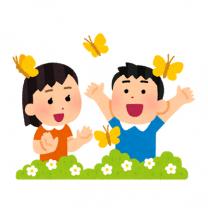 イラスト_蝶と遊ぶ子ども